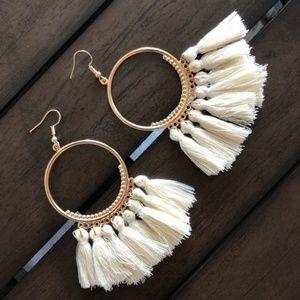 Jewelry - Tassel Hoop Bohemian Fan Earrings in White